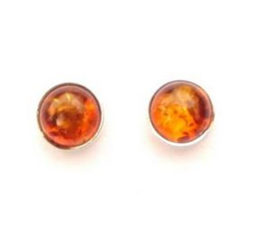 925 Silver Pretty Round Amber Stud Earrings