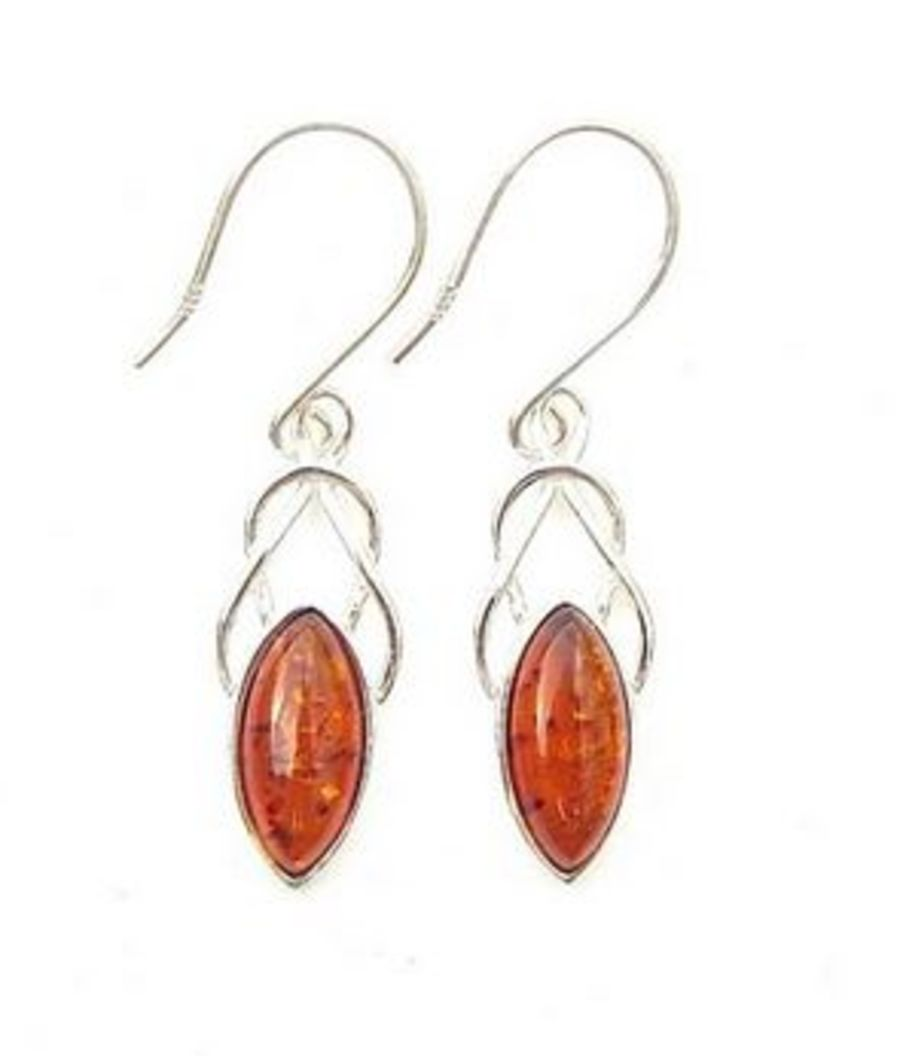 925 Silver Amber Marquise Knot Earrings
