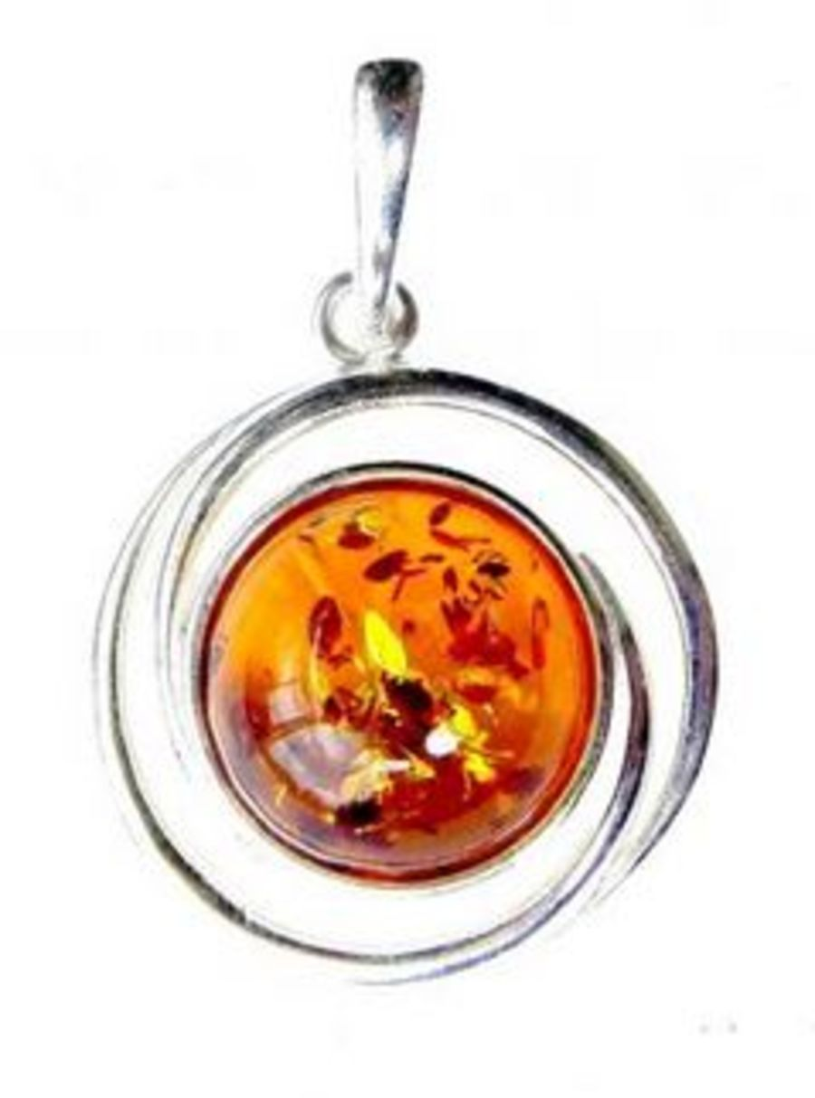 Stunning 925 Silver Amber Round Pendant & Chain