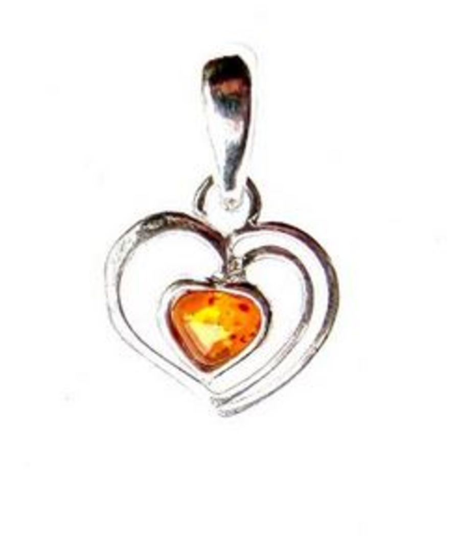 Dainty 925 Silver Amber Heart Pendant and Chain