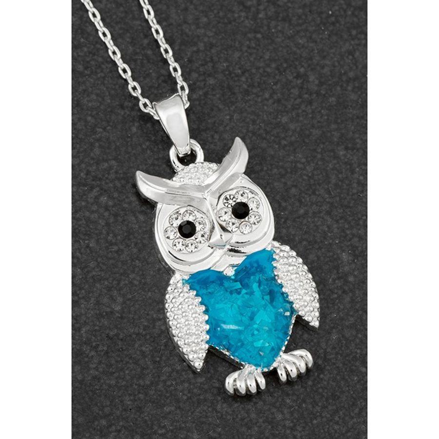 Sea Breeze Silver Plated Owl Necklace