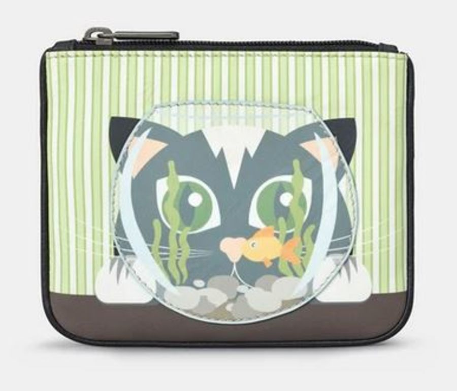 Cat And Fish Bowl Zip Top Leather Purse