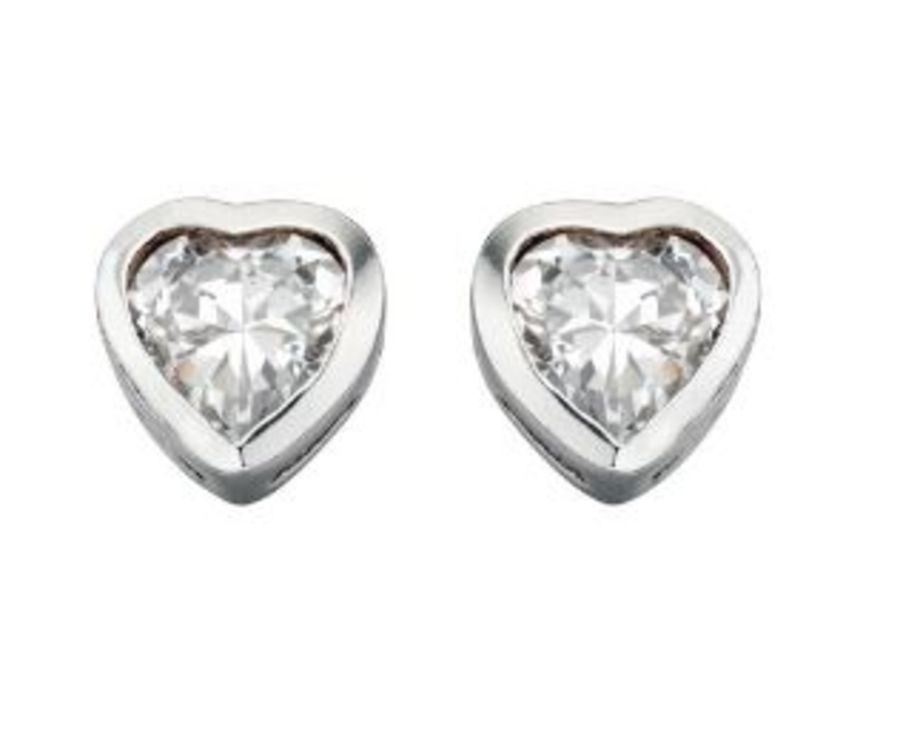 925 Silver Heart Cubic Zirconia Stud Earrings