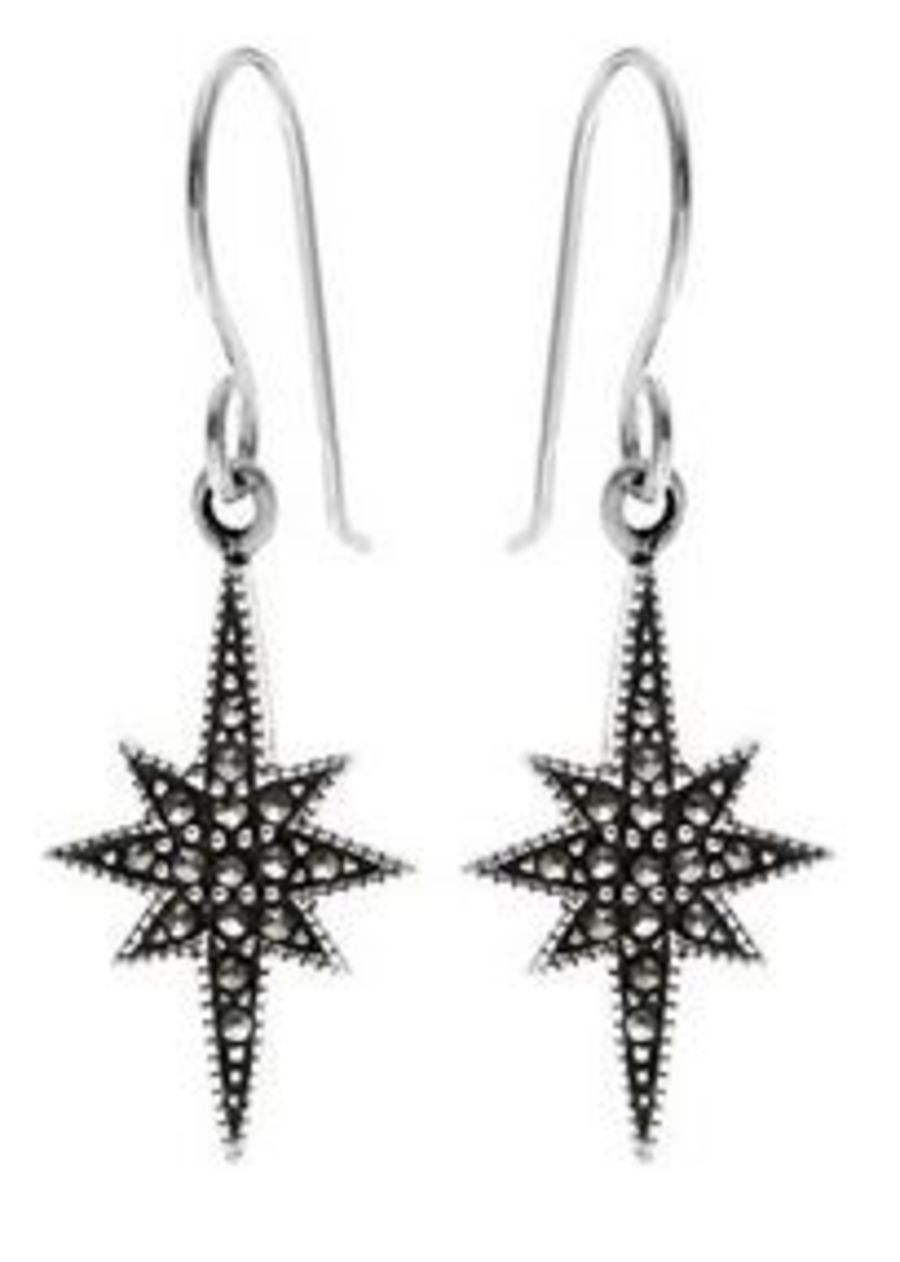 925 Silver & Marcasite Sunburst Earrings
