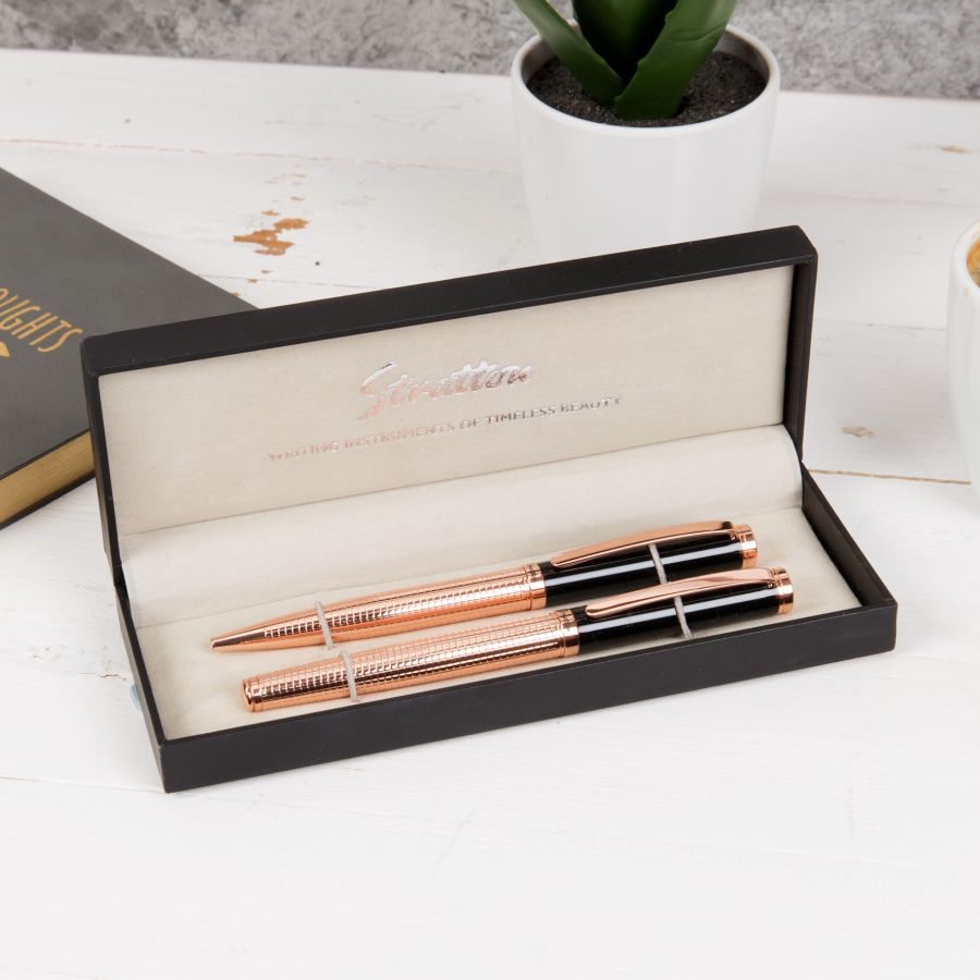 Stratton Ballpoint & Rollerball Pen - Black & Copper