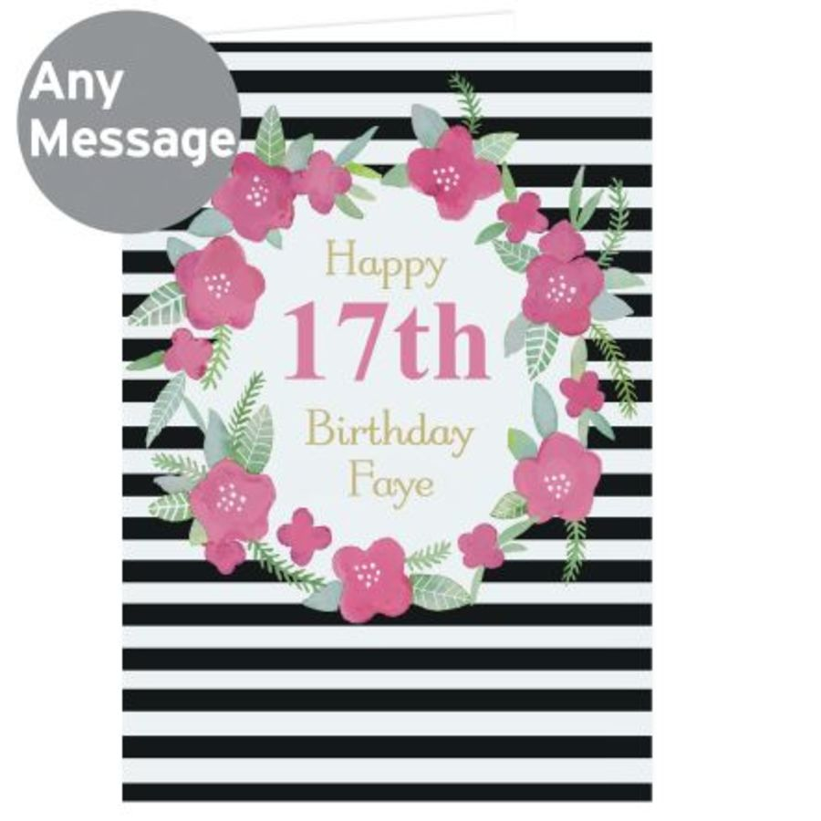 Personalised Floral Stripe Card (Birthday / Anniversary)