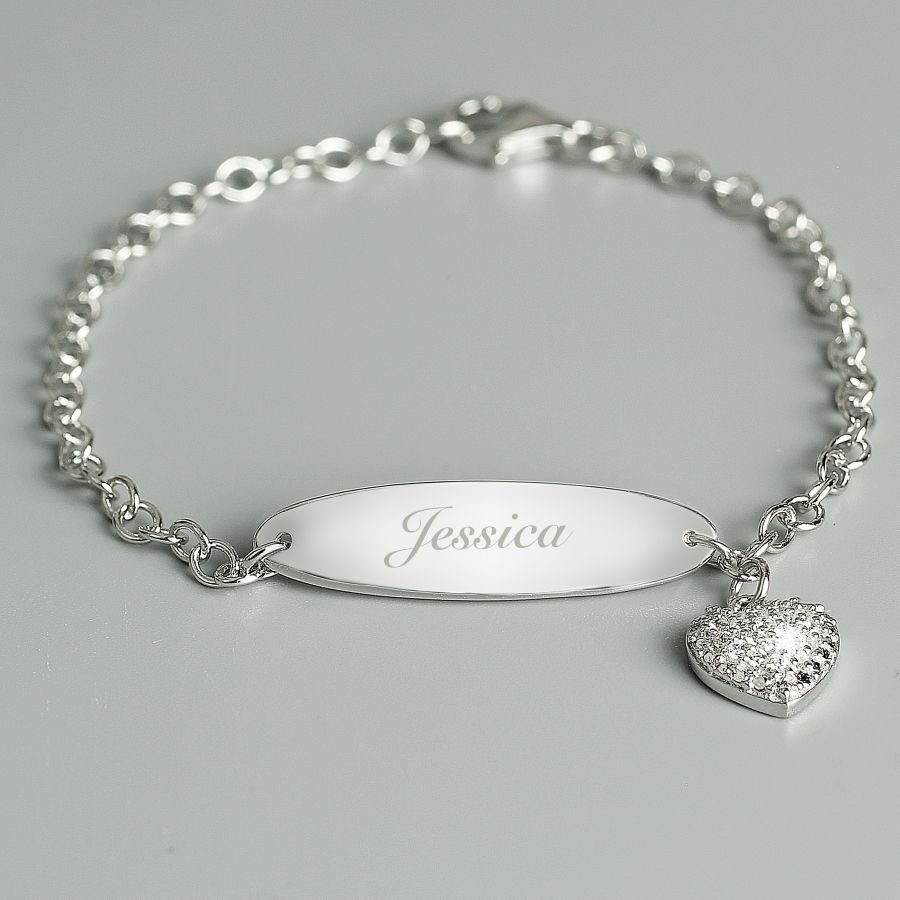 Personalised Children's Sterling Silver and Cubic Zirconia Bracelet