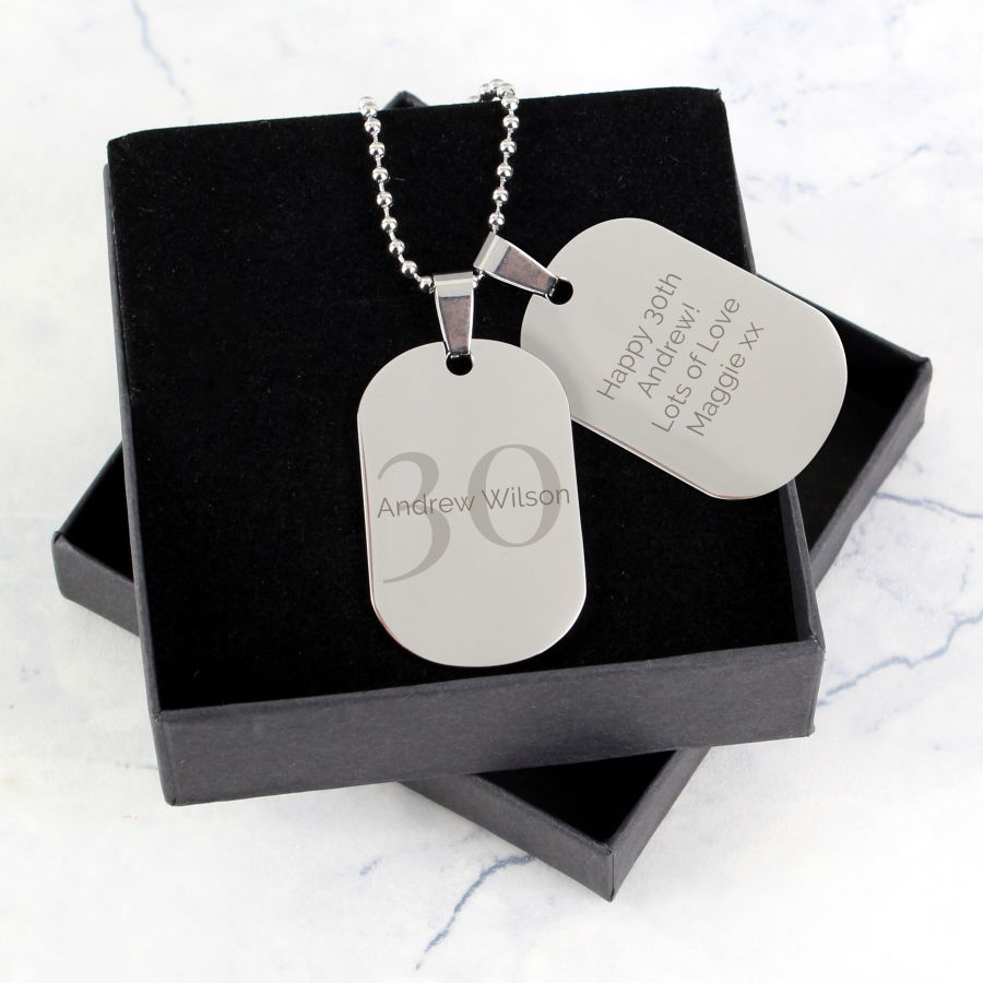 Personalised Age Stainless Steel Double Dog Tag Necklace