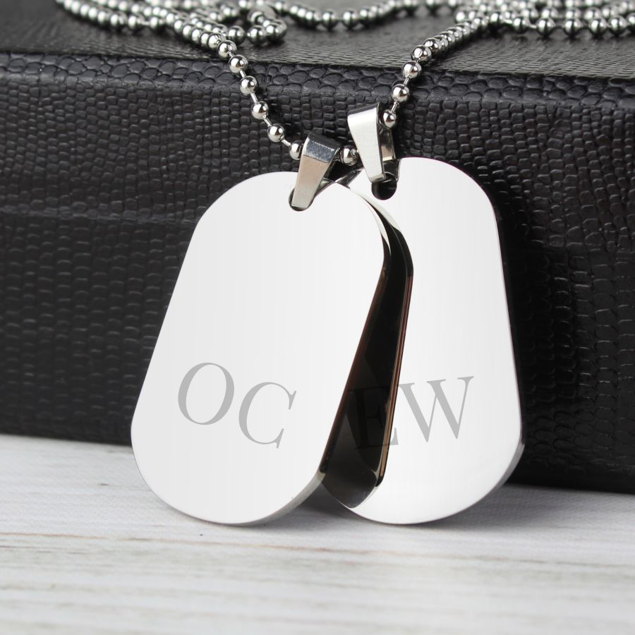 Personalised Initials Stainless Steel Double Dog Tag Necklace