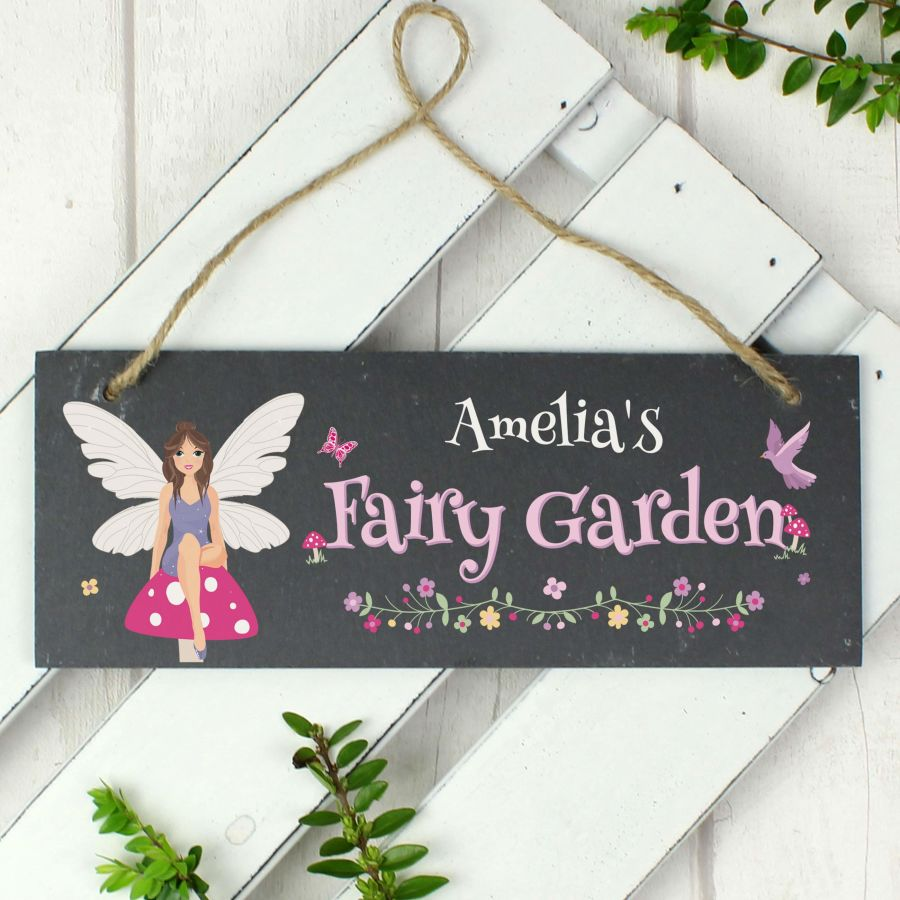 Personalised Fairy Garden Printed Hanging Slate Plaque