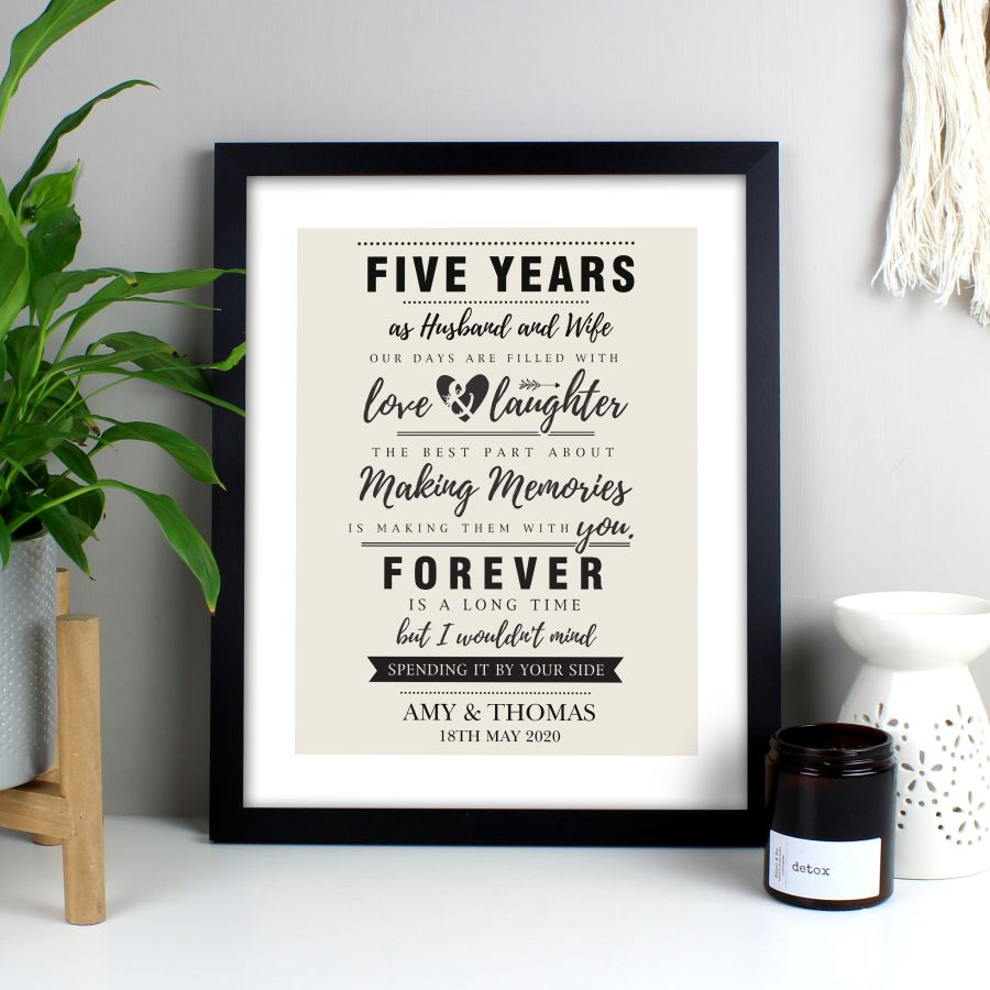 Personalised Anniversary Black Framed Print