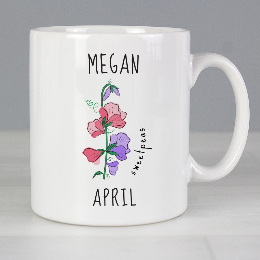 April Birth Flower - Sweet Peas Mug