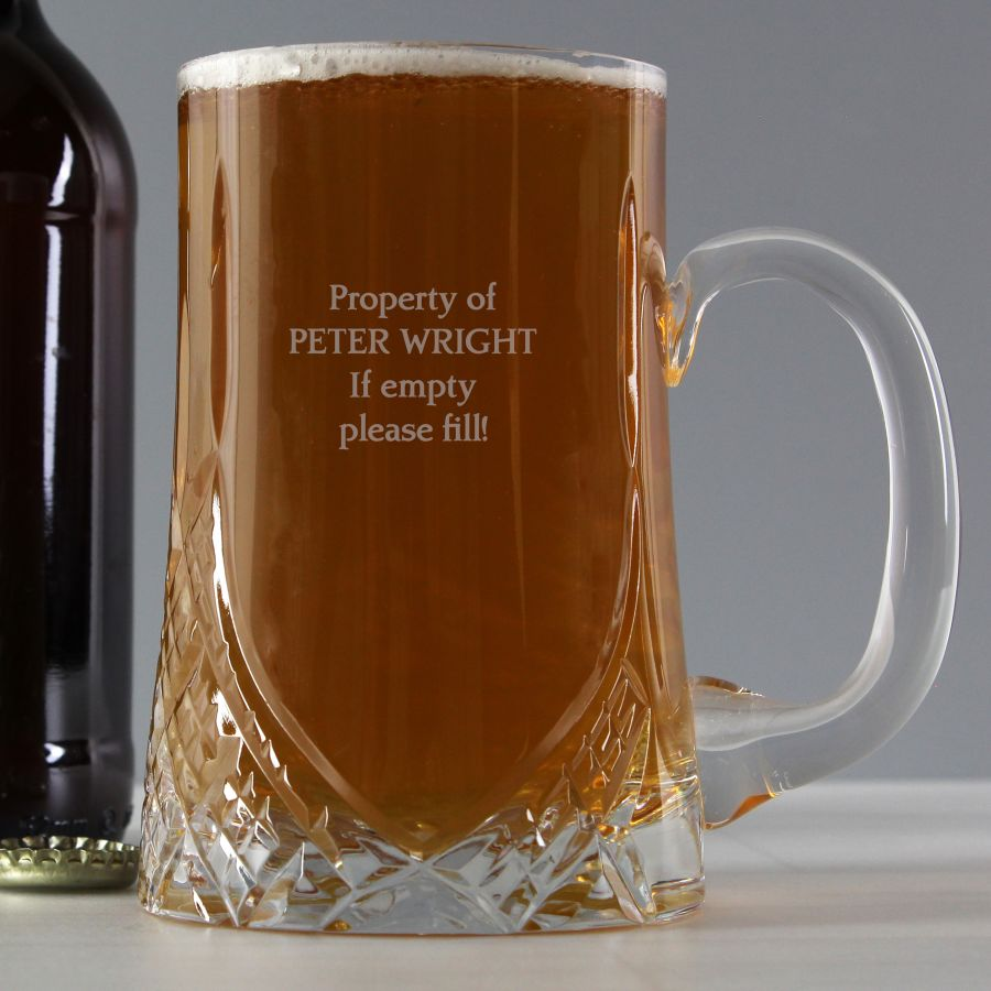 Personalised Pint Cut Crystal Tankard