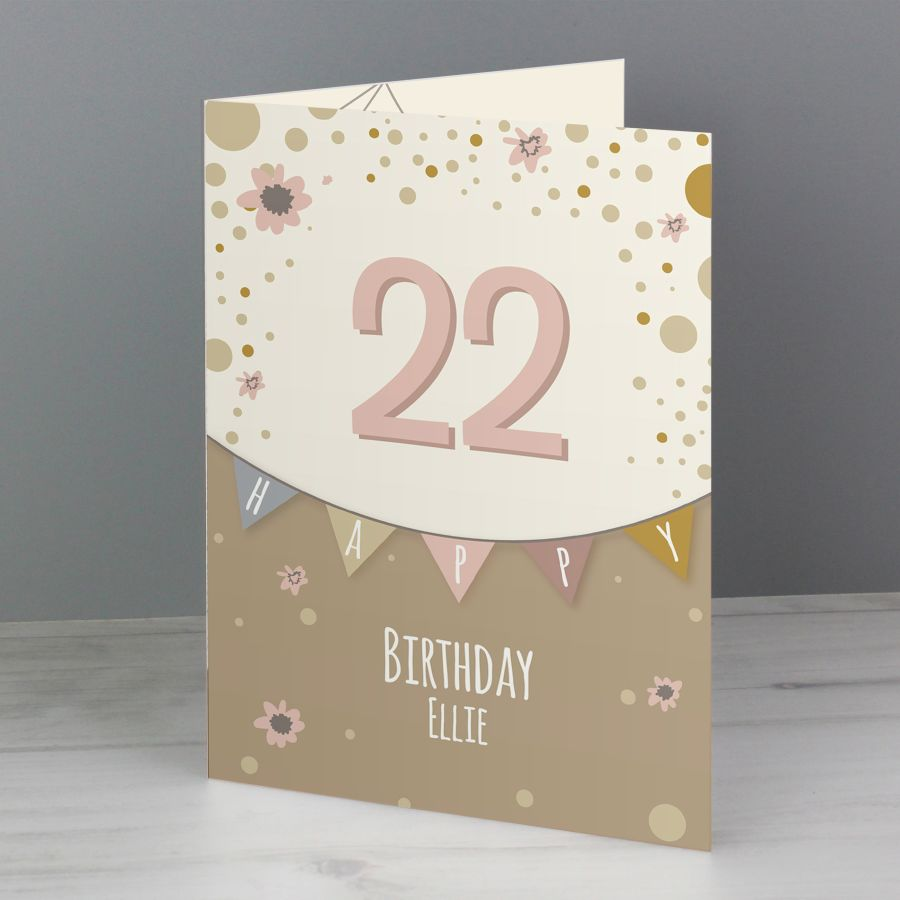Personalised Rose Gold Bunting Birthday Card