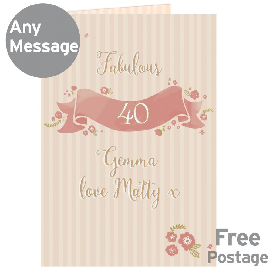 Personalised Floral Scroll AGE Card