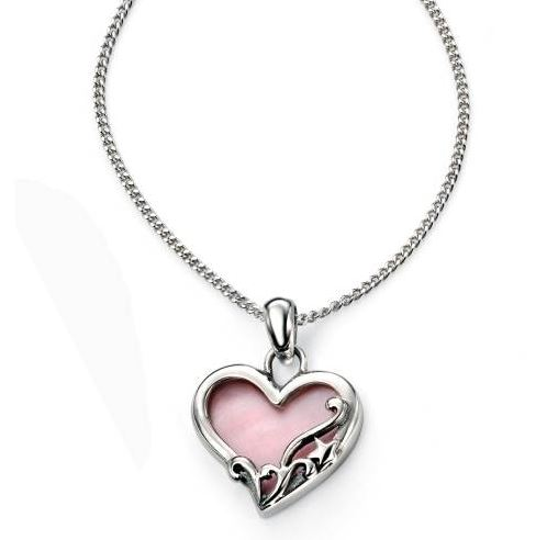 Silver and Pink Mother of Pearl Heart Pendant