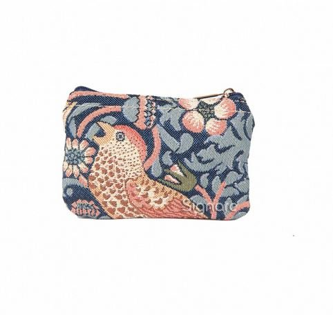 Signare Strawberry Thief Blue  Zip Coin Purse