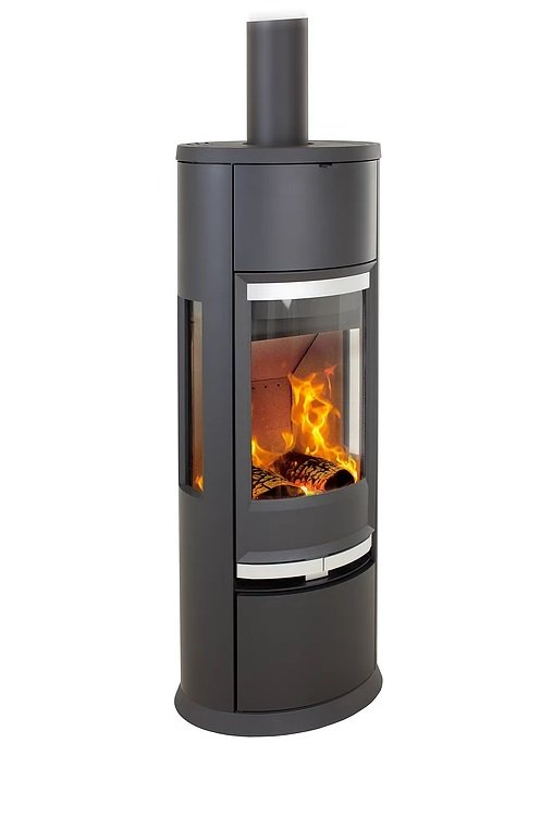 Heta Oura 300 7kW Wood Burning Stove with Thermastone and Steel sides