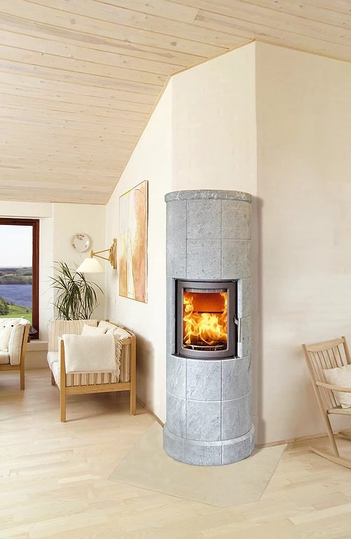 Heta Scan-Line 30 5kW Thermal-Mass Wood Burning Stove with Six Sections of Soapstone