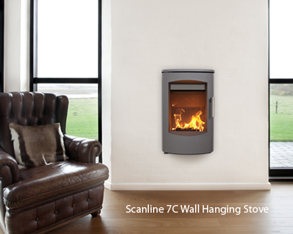 Heta Scan-Line 7C 4kW Wall Hanging Woodburning Stove