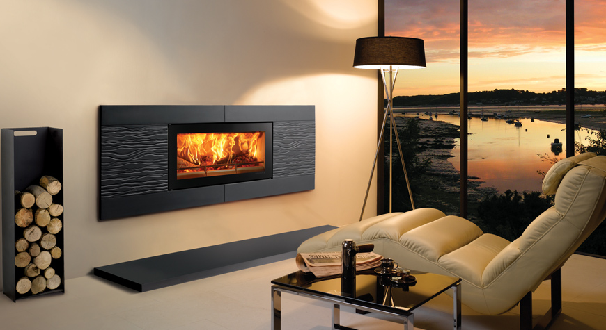 Riva Studio Ceramica Wave Inset Woodburning Fires