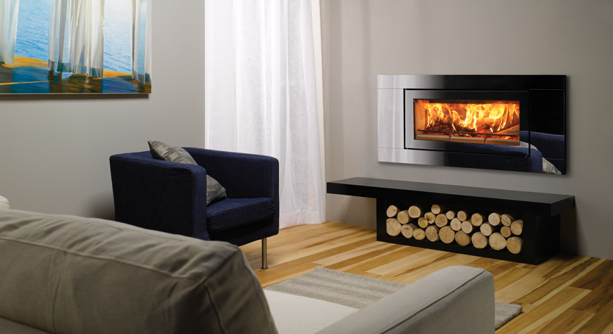 Riva Studio Glass Inset Woodburning Fire