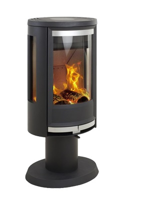 Heta Oura 100 7kW Wood Stove on Pedestal with Side Glass