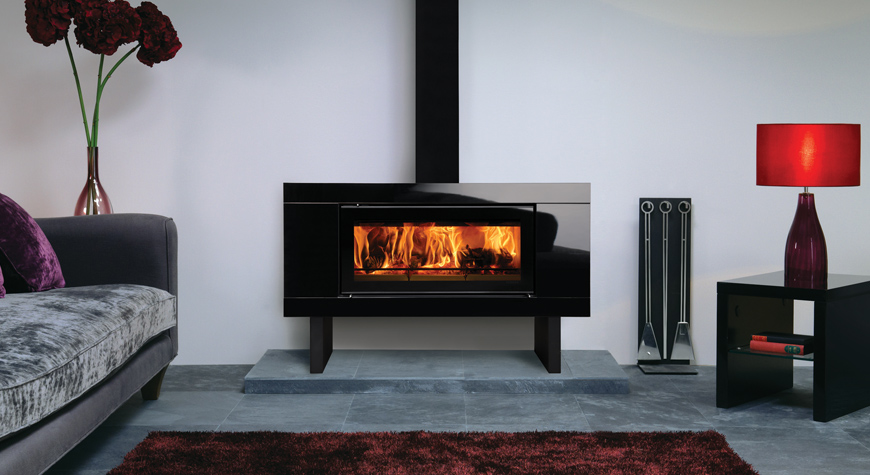 Stovax Riva Studio Bench Glass & Steel Woodburning Fire