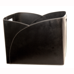 Black Leather Rectangular Log Holder