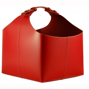 Red Leather Log Holder with Buckle