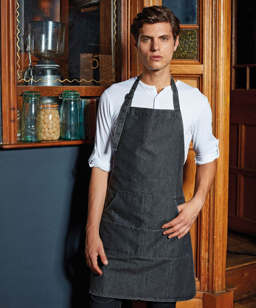 Denim Pocket Apron with Embroidered Logo x 6