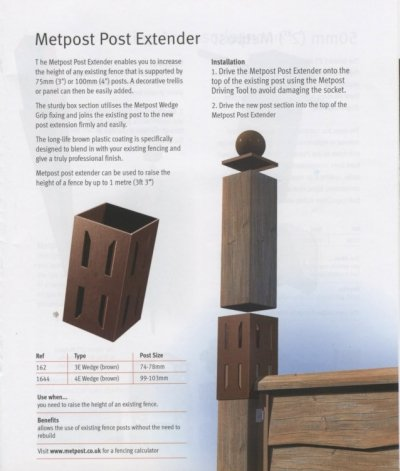 Metal Post Extender 100mm 4