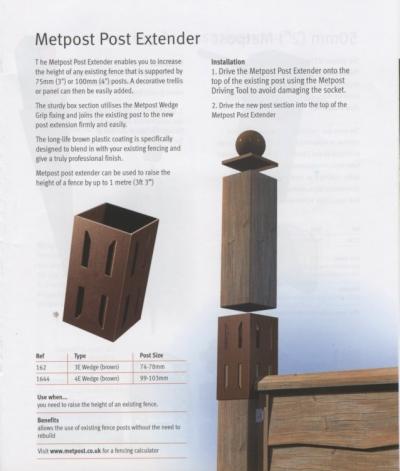Metal Post Extender 100mm 4