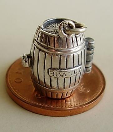 Brandy Barrel Sterling Silver Charm