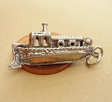 Sterling Silver Opening Canal Boat Barge Charm