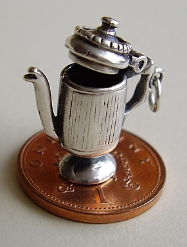 Coffee Pot Sterling Silver Charm