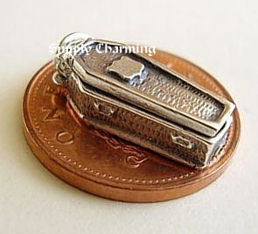 Coffin Skeleton Sterling Silver Charm