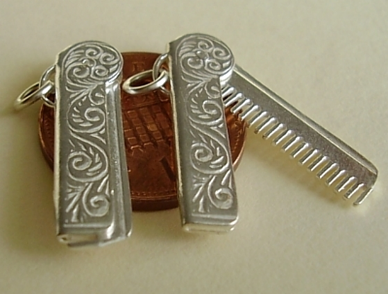 Comb In Case Sterling Silver Charm