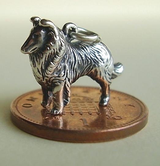 925 Sterling Silver Collie Sheltie Dog Charm