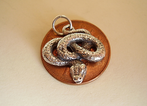 .925 Sterling Silver Coiled Snake Charm