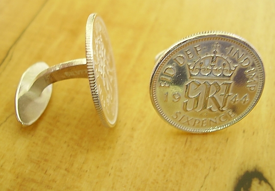 .925 Sterling Silver  1944 Sixpence Coin Cufflinks