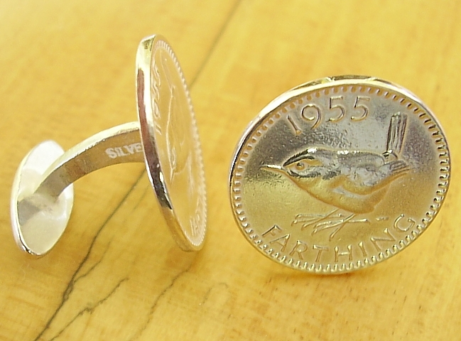.925 Sterling Silver 1955 Farthing Cufflinks