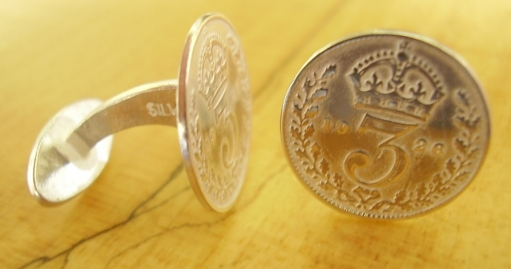 .925 Sterling Silver 1926 Thrupenny Bit Coin Cufflinks