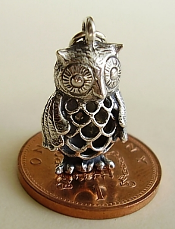 Filligree Owl Sterling Silver Charm