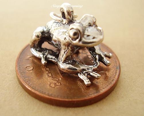 .925 Sterling Silver Frog Charm For Bracelets