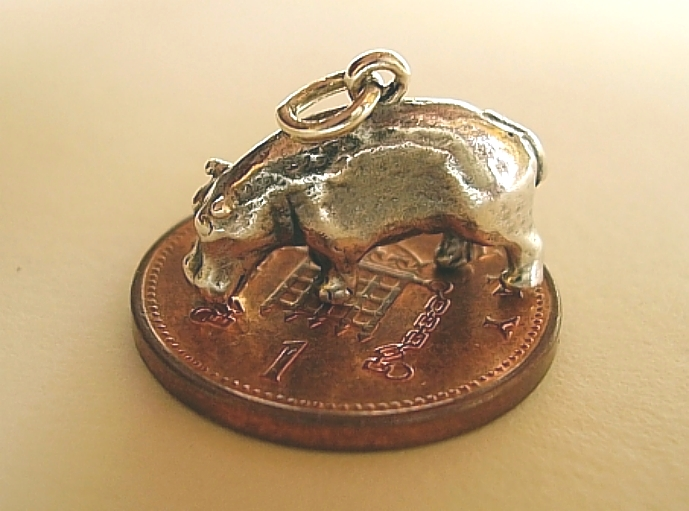.925 Sterling Silver Hippo Charm