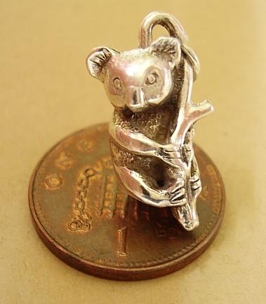 Koala Bear Silver Charm