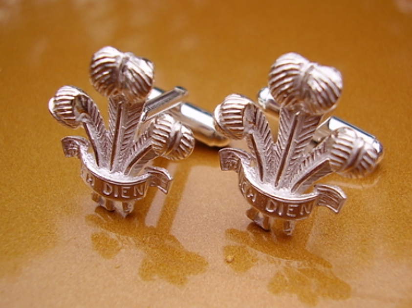 Sterling Silver Cufflinks - Sterling Silver Prince Of Wales Feathers Cufflinks