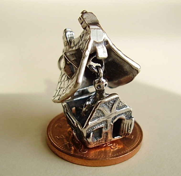 Haunted House Sterling Silver Charm