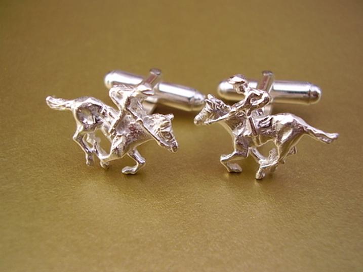 Sterling Silver Cufflinks - Sterling Silver Horse and Jockey Cufflinks
